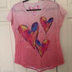 Leoma Lovegrove, Pink Power Heart Top,Size M, EUC